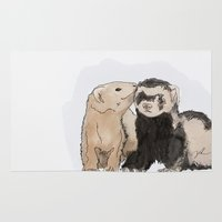 ferret Area & Throw Rugs featuring Ferret Kisses by Dannie Ann