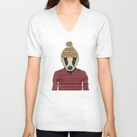badger V-neck T-shirts featuring seb the badger  by bri.buckley