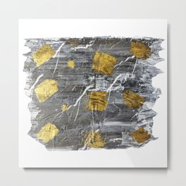 Gold Leaf on Marble Metal Print