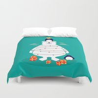 arctic monkeys Duvet Covers featuring Christmas in Arctic by Steven Toang