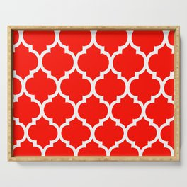 MOROCCAN RED AND WHITE PATTERN Serving Tray