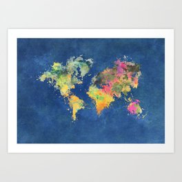 world map 93 #worldmap #map #world Art Print