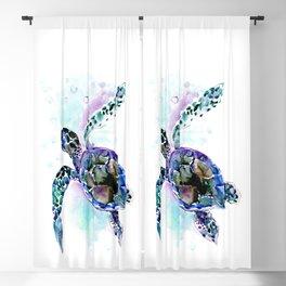 Sea Turtle Underwater Scene Artwork, turquoise blue, gray design beach Blackout Curtain