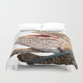 A Chameleon With Open Mouth Isolated Duvet Cover