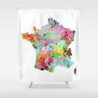 france Shower Curtains featuring France map by Nicksman