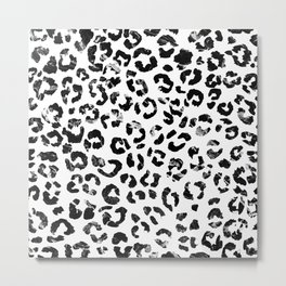 Modern black white marble stylish leopard pattern Metal Print