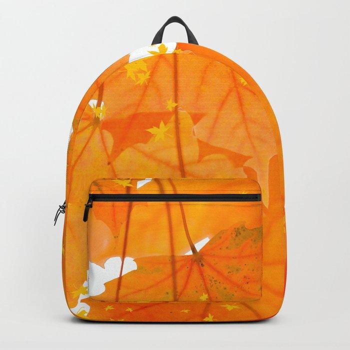 Fall Orange Maple Leaves On A White Background #decor #buyart #society6 Backpack