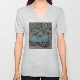 Edgar Degas - Three Dancers (Blue Tutus, Red Bodices) Unisex V-Neck