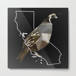 California – California Valley Quail (Black) Metal Print