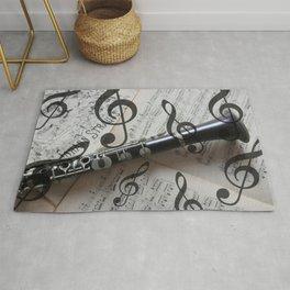 clef music notes white black clarinet Rug