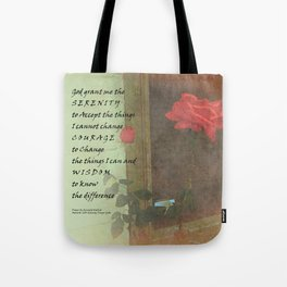 Serenity Prayer Rose and Door Tote Bag