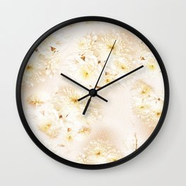 Lost in Antique White Flowers Wall Clock