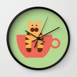Lil' Cat in a Tiny Cup Wall Clock