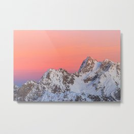 Glowing sunset sky and snowy mountains Metal Print