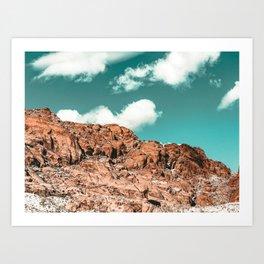 Vintage Red Boulder // Desert Rocks Teal Blue Sky Canyon Landscape Wilderness Nature Scene Art Print