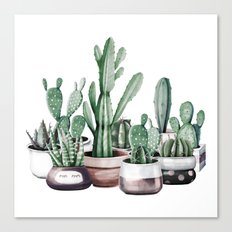 Cactus + Succulents Rose Gold Pattern by Nature Magick Canvas Print