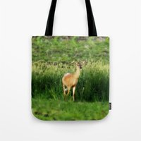minnesota Tote Bags featuring Minnesota Doe by Mezzilicious