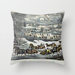 Central Park in Winter Currier & Ives Throw Pillow