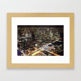 Melbourne By Night Framed Art Print
