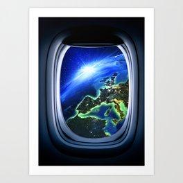 Airplane window with Earth, porthole #4 Art Print