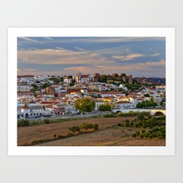 Silves in evening light, Portugal Art Print