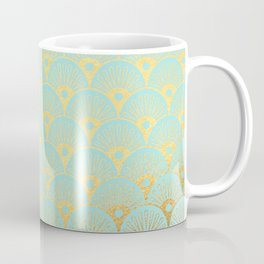 Art Deco Mermaid Scales Pattern on aqua turquoise with Gold foil effect Coffee Mug