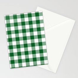 Hunter Green Checker Gingham Plaid Stationery Cards