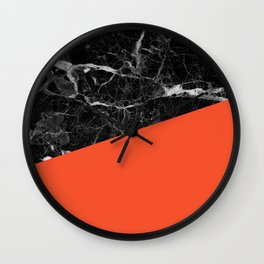 Black marble and flame color Wall Clock