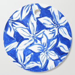 Painted Blue and White Flowers Cutting Board