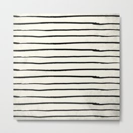 Horizontal Ivory Stripes II Metal Print