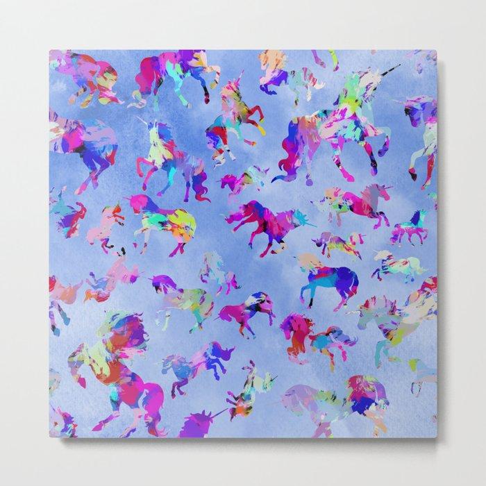 Watercolor Unicorns Metal Print