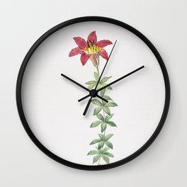 Vintage Wood Lily Illustration Wall Clock