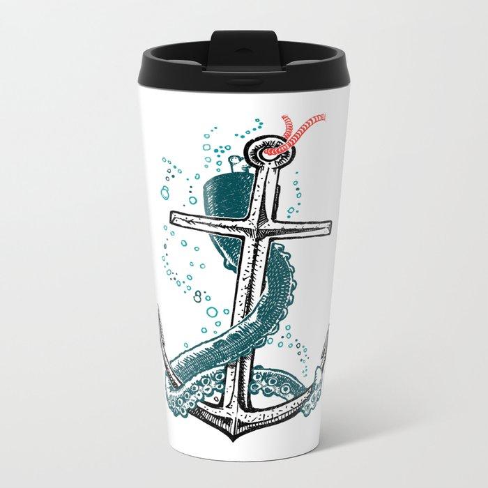 Anchor and Tentacle (Riso edition) Metal Travel Mug