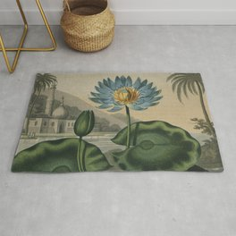 Temple of Flora Blue Egyptian Water Lily Rug