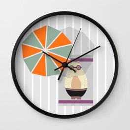 Bear at the beach Wall Clock