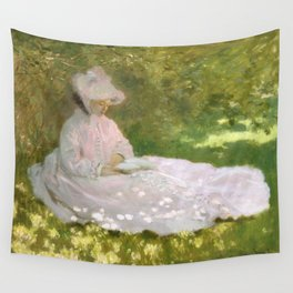 Springtime by Claude Monet Wall Tapestry