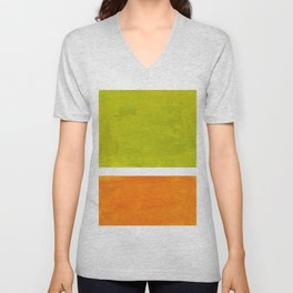 Retro Lime Green Minimalist Abstract Color Block Rothko Midcentury Modern Art Unisex V-Neck