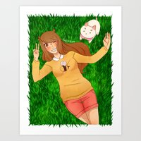 puppycat Art Prints featuring Bee and Puppycat by radcoffee