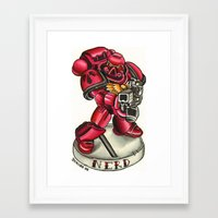 nerd Framed Art Prints featuring nerd! by sharktankillustrations