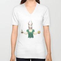 demon V-neck T-shirts featuring Demon by Jauma