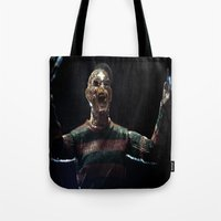 freddy krueger Tote Bags featuring Freddy Krueger by TJAguilar Photos