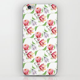 Elegant modern hand painted pink lilac watercolor magnolia floral iPhone Skin