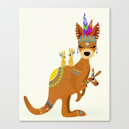 TRIBAL KANGAROO Canvas Print