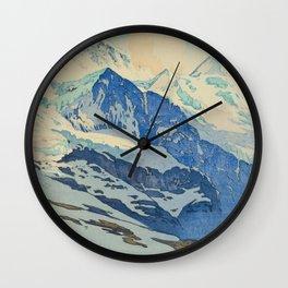 The Jungfrau Vintage Beautiful Japanese Woodblock Print Hiroshi Yoshida Wall Clock