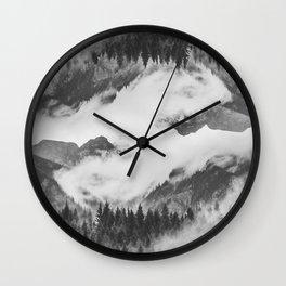 Misty Mountain II B&W Wall Clock