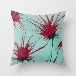 Wild Red Blooms Throw Pillow