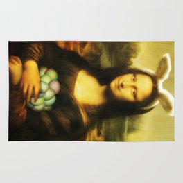 Easter Mona Lisa with Bunny Ears and Colored Eggs Rug