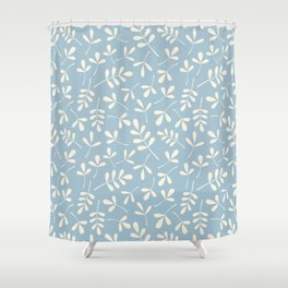 Cream on Blue Assorted Leaf Silhouette Pattern Shower Curtain