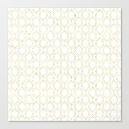 White And Gold Moroccan Chic Pattern Canvas Print