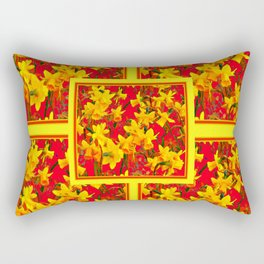 Decorative Tomato Red Patterns of Yellow Garden Daffodils Rectangular Pillow